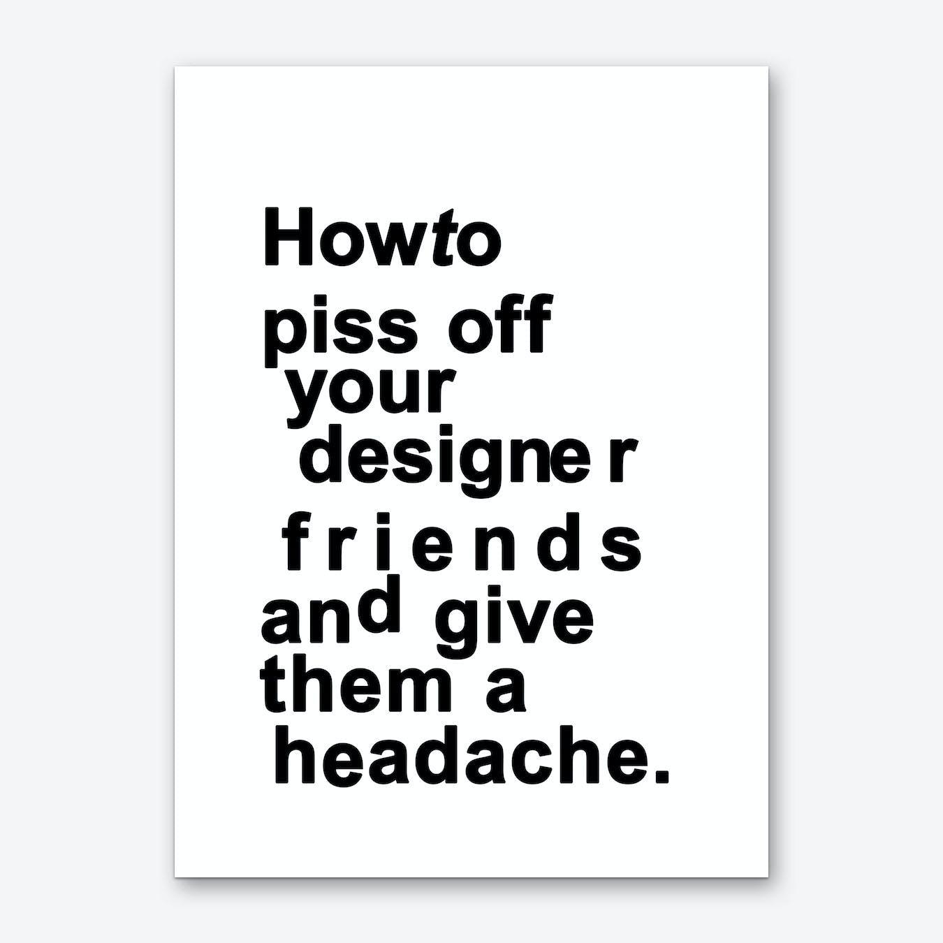 The Headache (white) Art Print