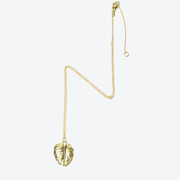 18k gold plated cheese plant leaf pendant necklace long by lovett 18k gold plated cheese plant leaf pendant necklace long by lovett co fy aloadofball Image collections