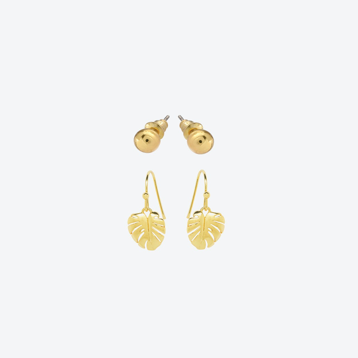 18k Gold Plated Studs & 18k Gold Plated Cheese Plant Earring Duo