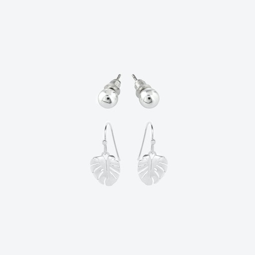 18k Silver Plated Studs & Silver Plated Cheese Plant Earring Duo