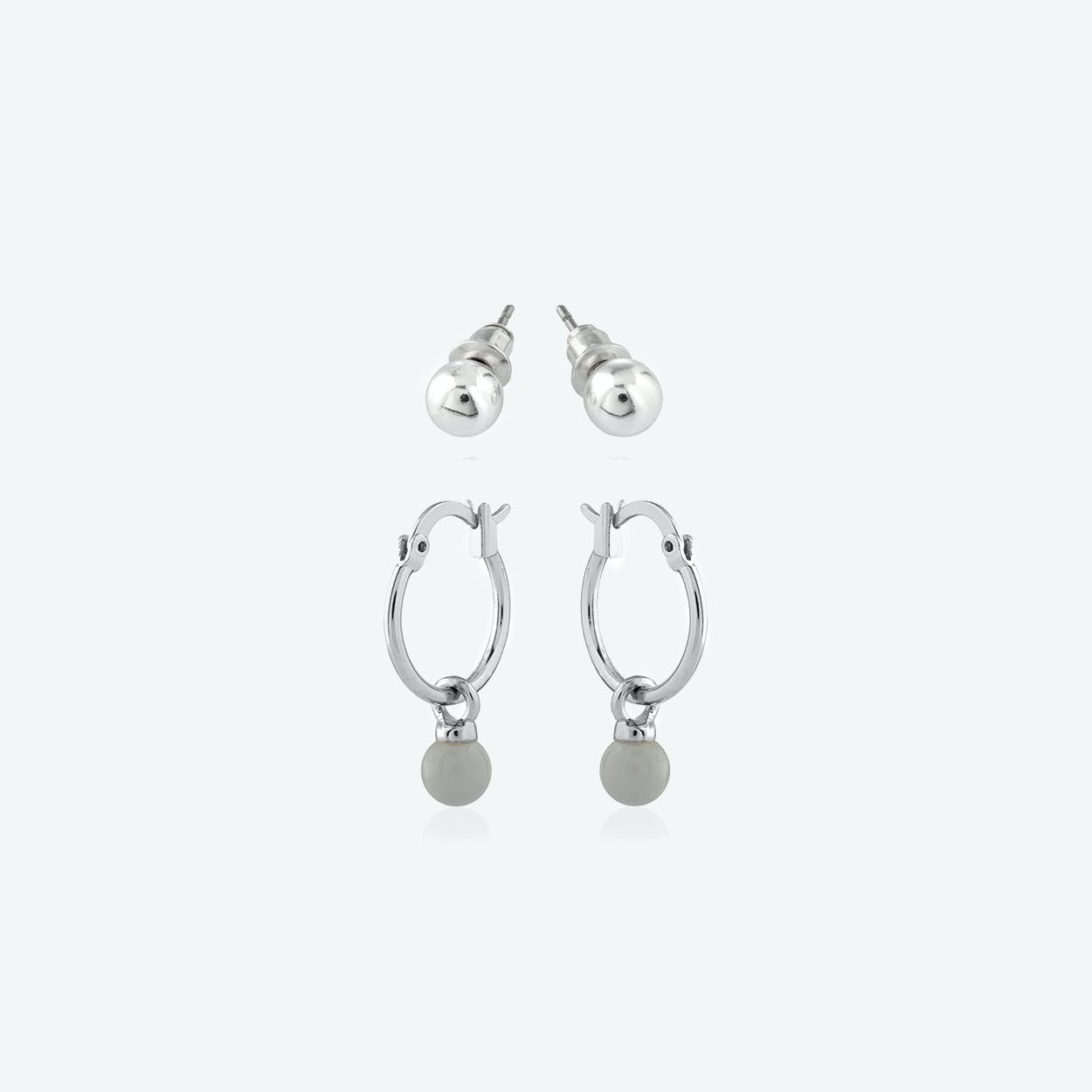 Silver Plated Earring Duo Set