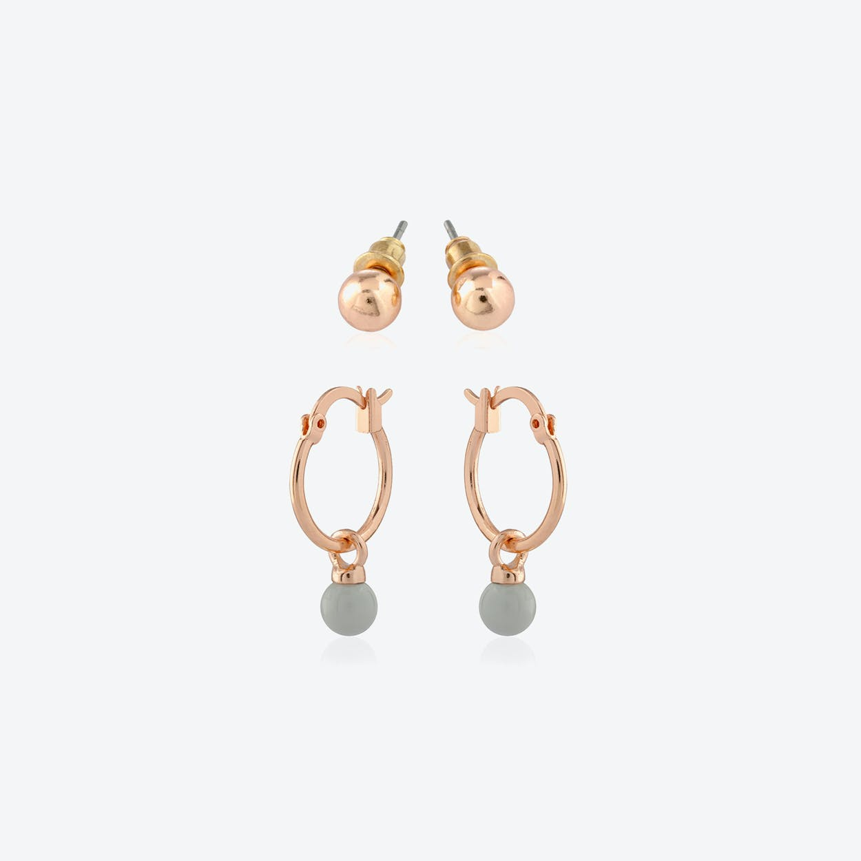 Rose Gold Plated Earring Duo Set