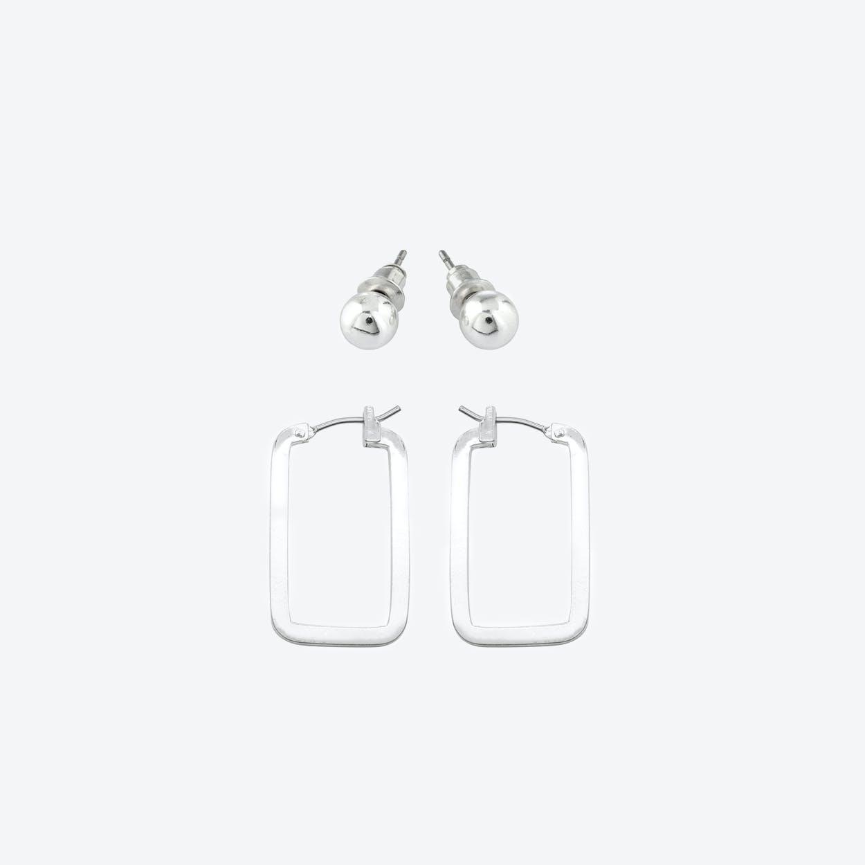 Silver Plated Geometric Earring Set