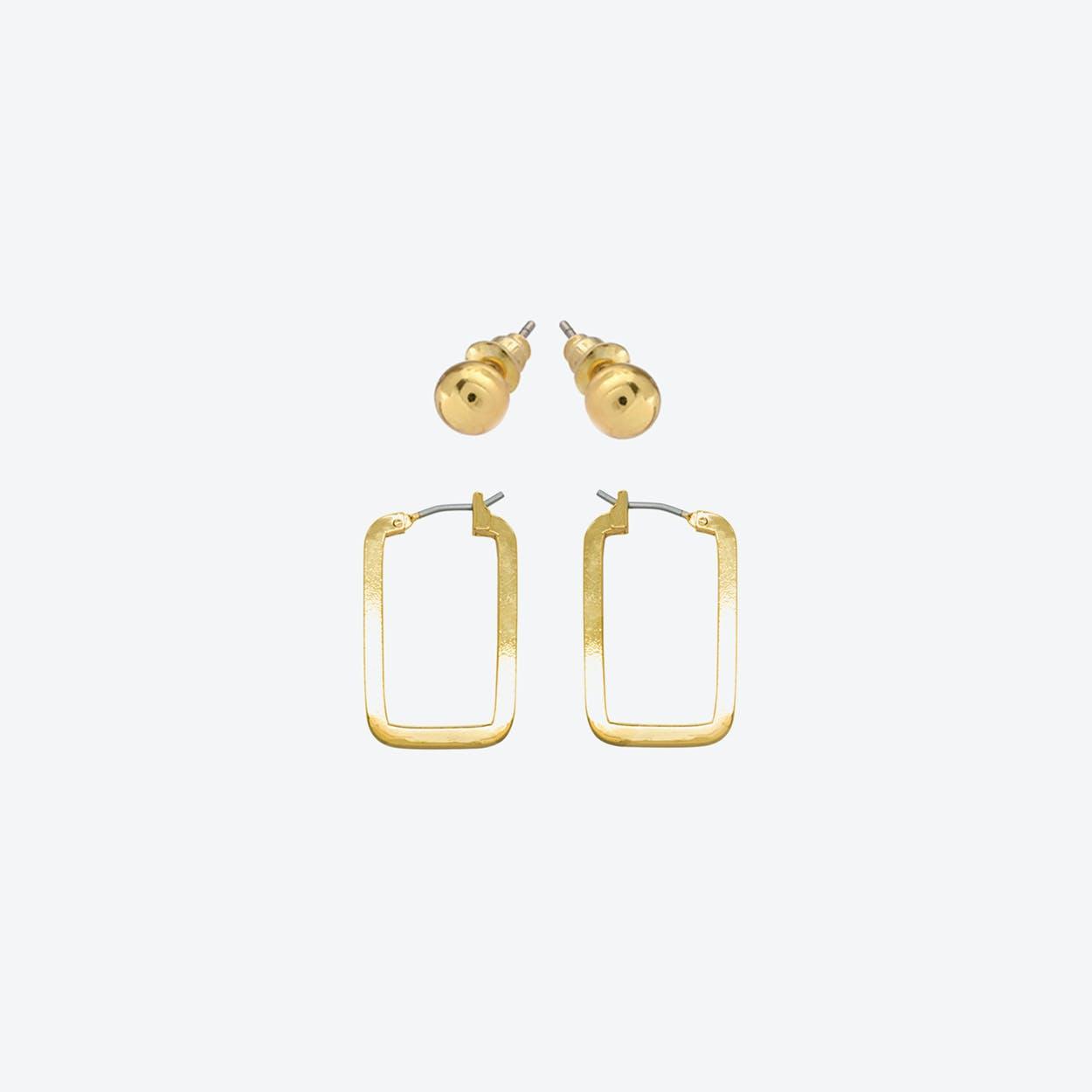 18k Gold Plated Geometric Earring Set