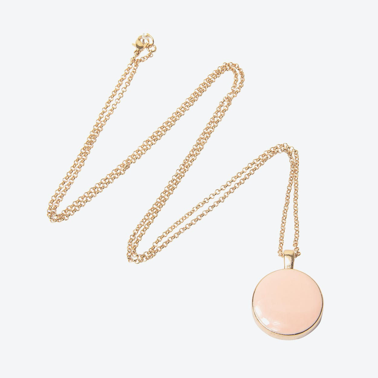 Rose Gold Plated Mother of Pearl Reversible Necklace in Pink