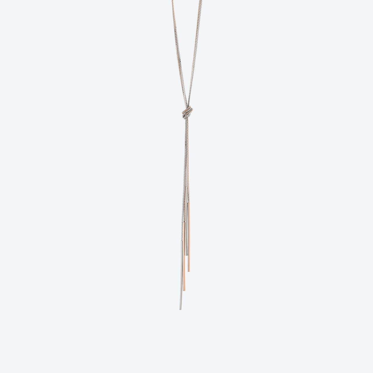 Silver/Rose Gold Mixed Plate Rope with Tassel