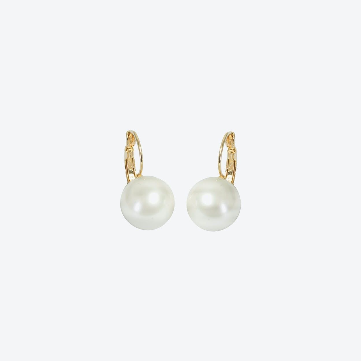 18kg Gold Simple Pearl Drop Earrings