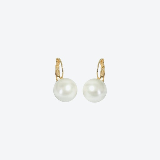 18kg Gold Simple Pearl Drop Earrings