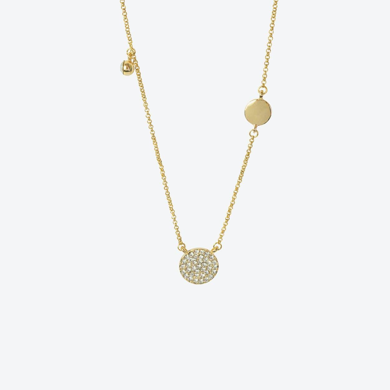 18k Gold Pave Disc Asymmetric Necklace