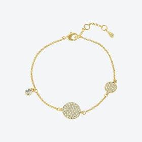 18kg Gold Pave Disc Asymmetric Bracelet