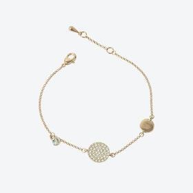 Rose Gold Pave Disc Asymmetric Bracelet