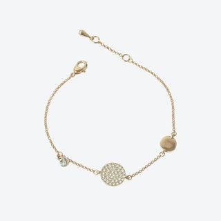 Rose Gold Pave Disc Asymmetric Bracelet