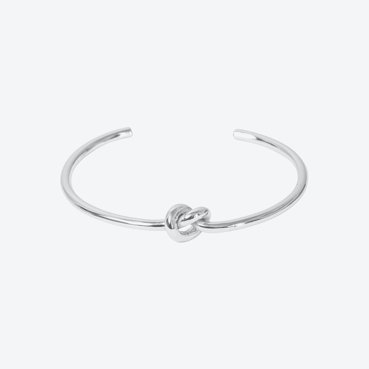 Silver Plated Single Row Knot Bangle