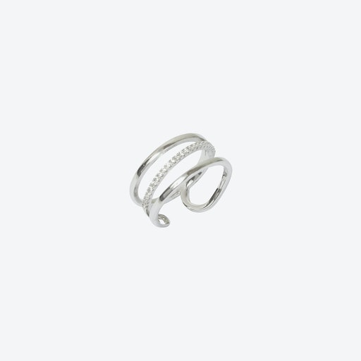 Silver Plated 3-Row Cage Ring