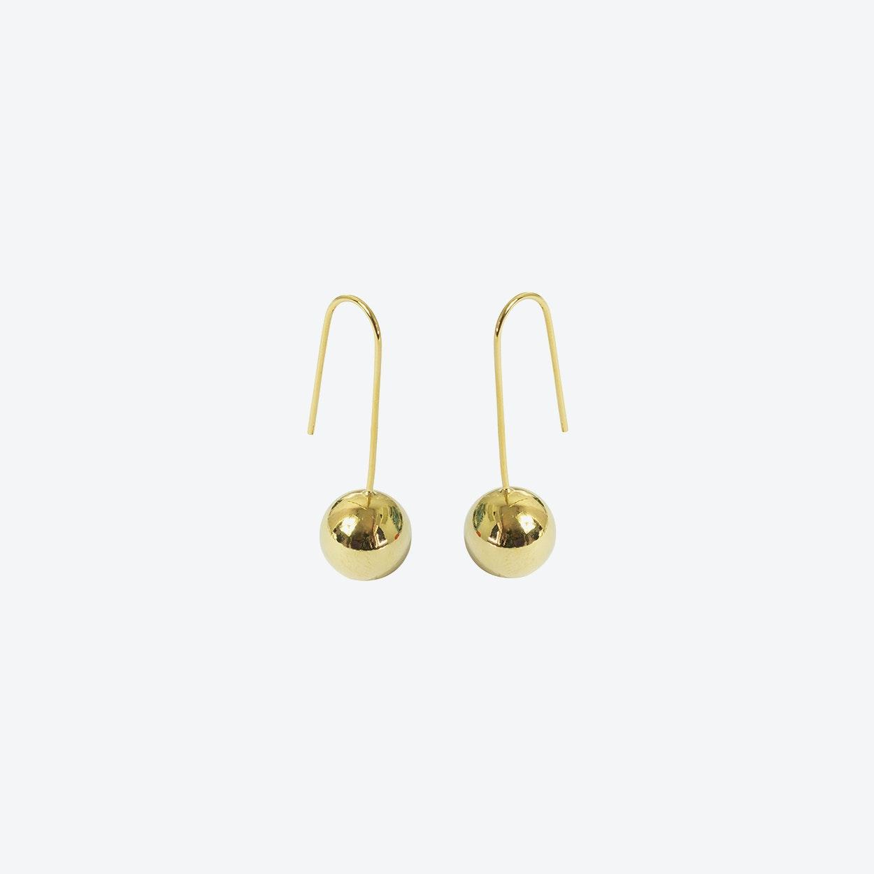 18k Gold Ball Drop Earring On Wire Hook