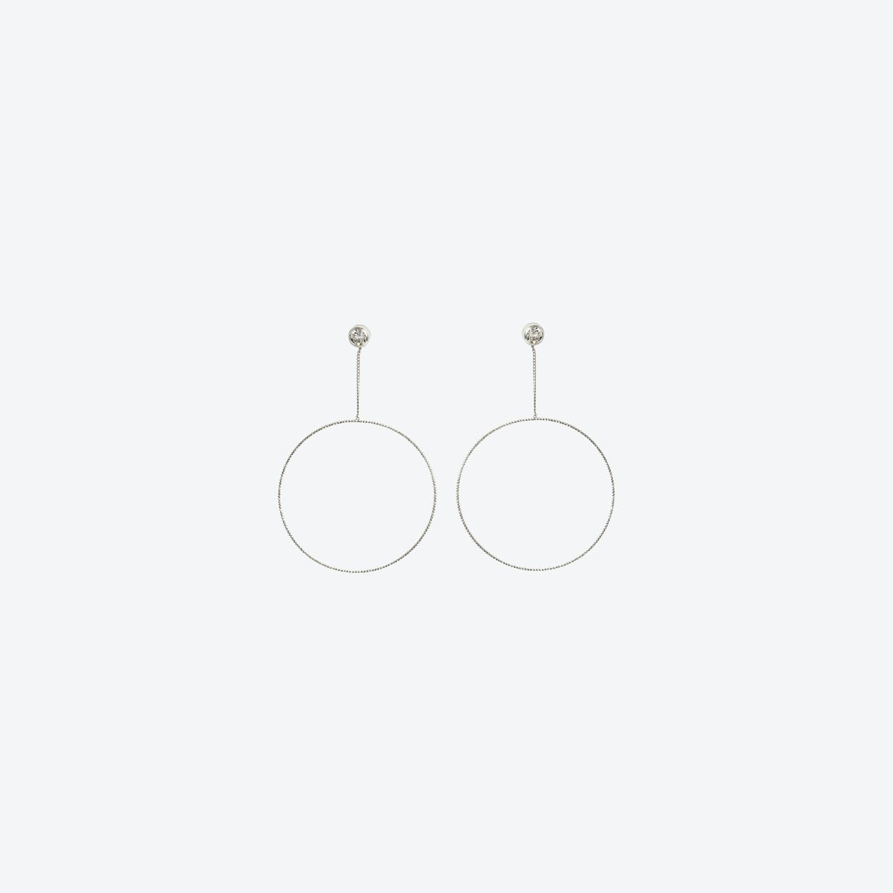 Silver Large Open Circle Drop Earring