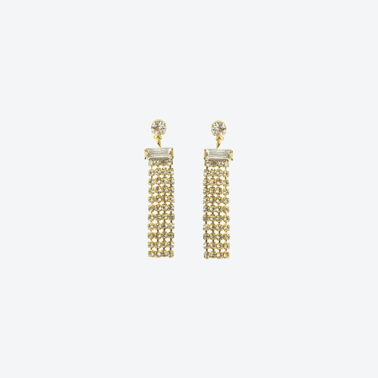 18k Gold Statement Diamante Drop Earring