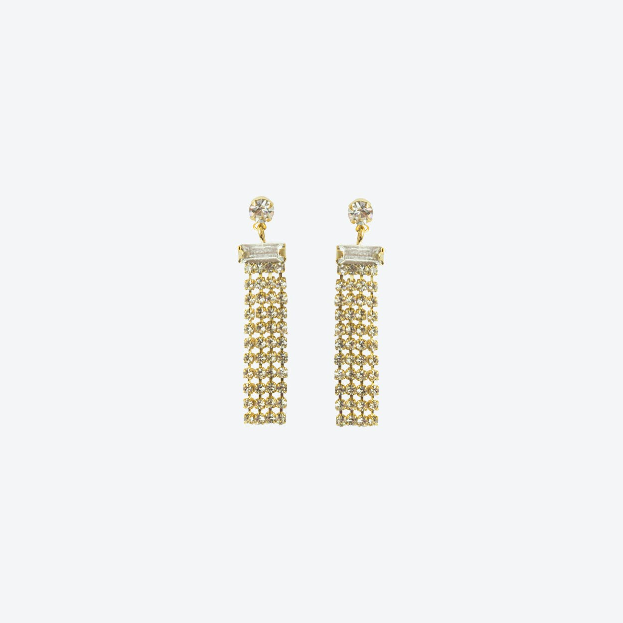 18k Gold Statement Diamante Drop Earring