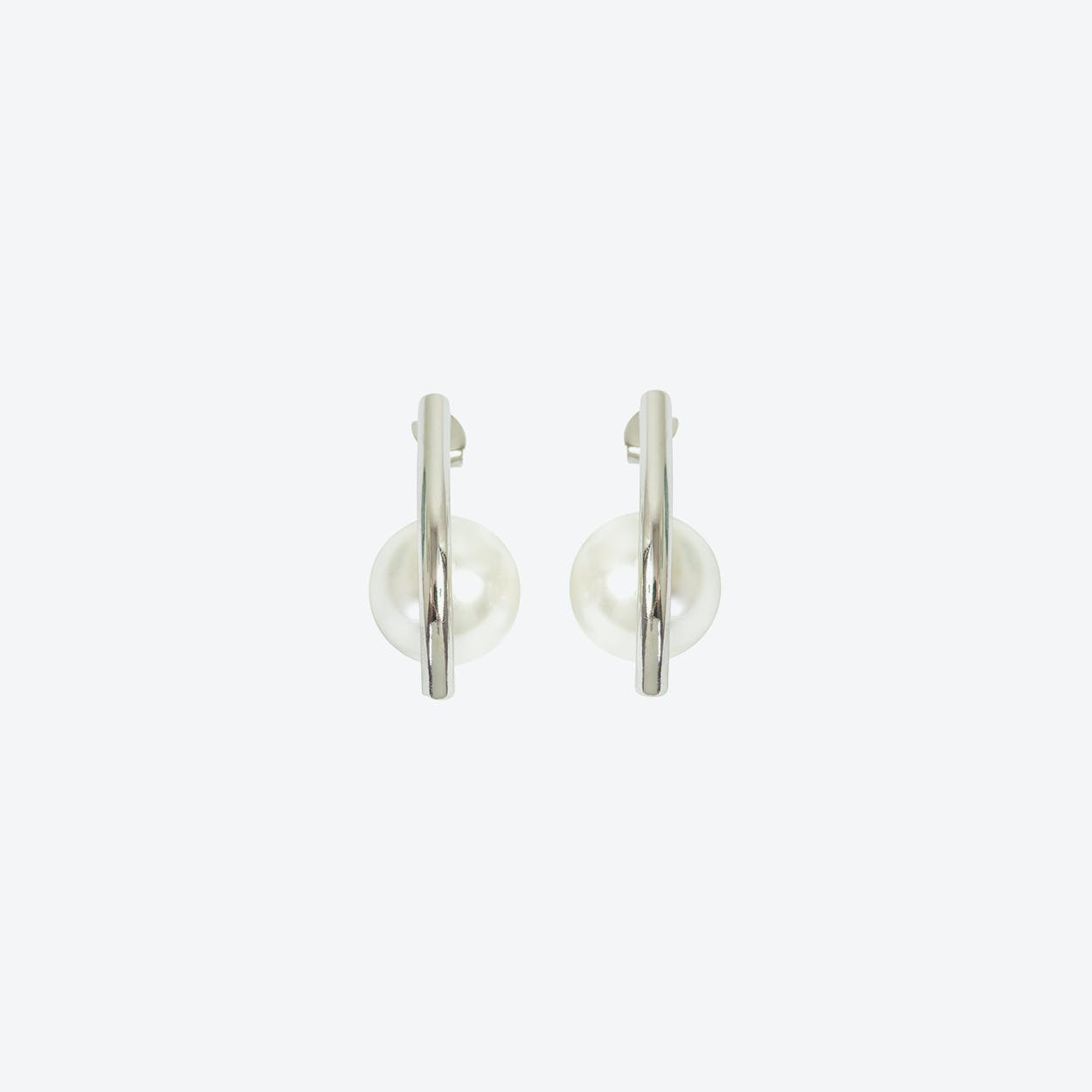Silver Contemporary Pearl Drop Earring