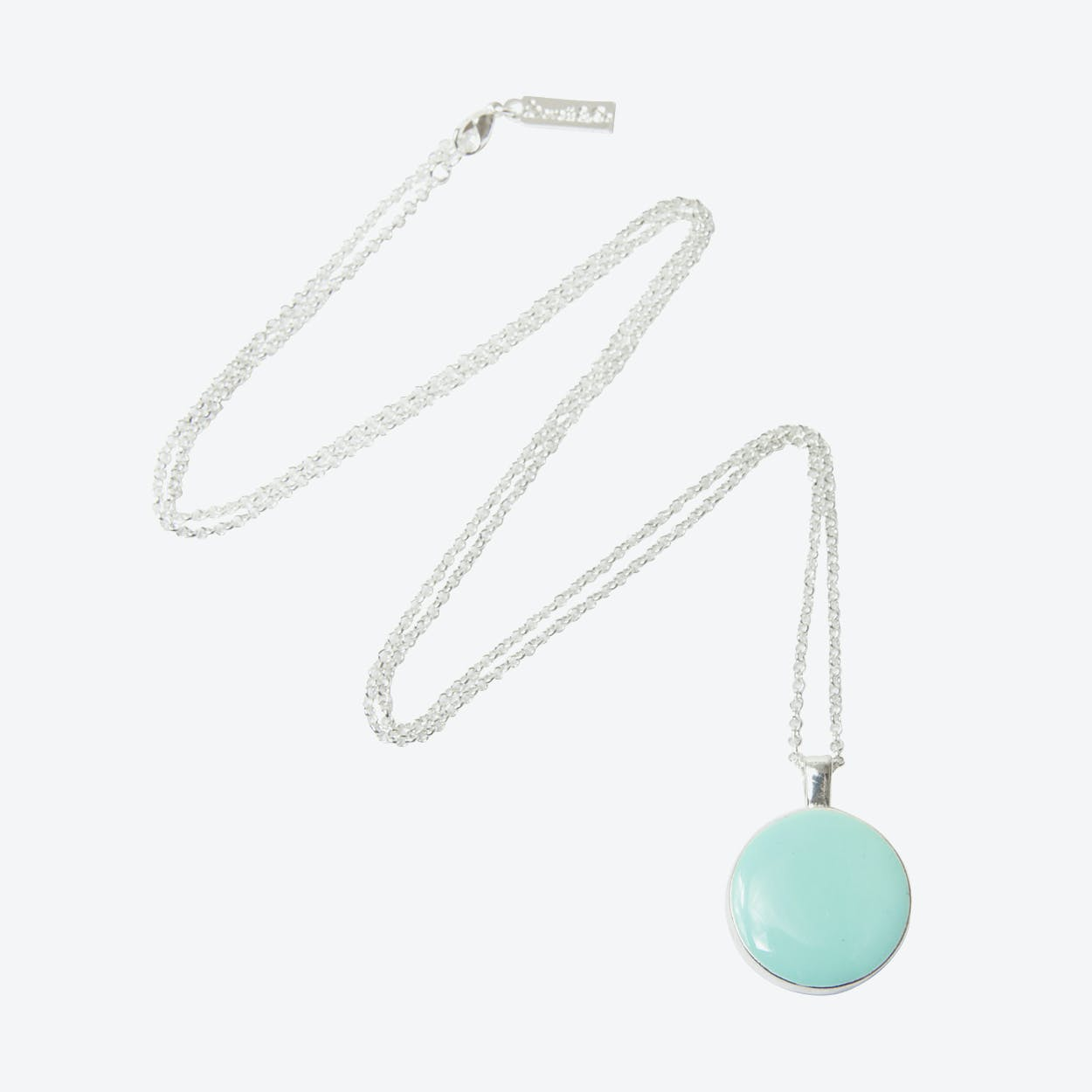Mother of Pearl Reversible Necklace in Silver/Duck Egg Blue