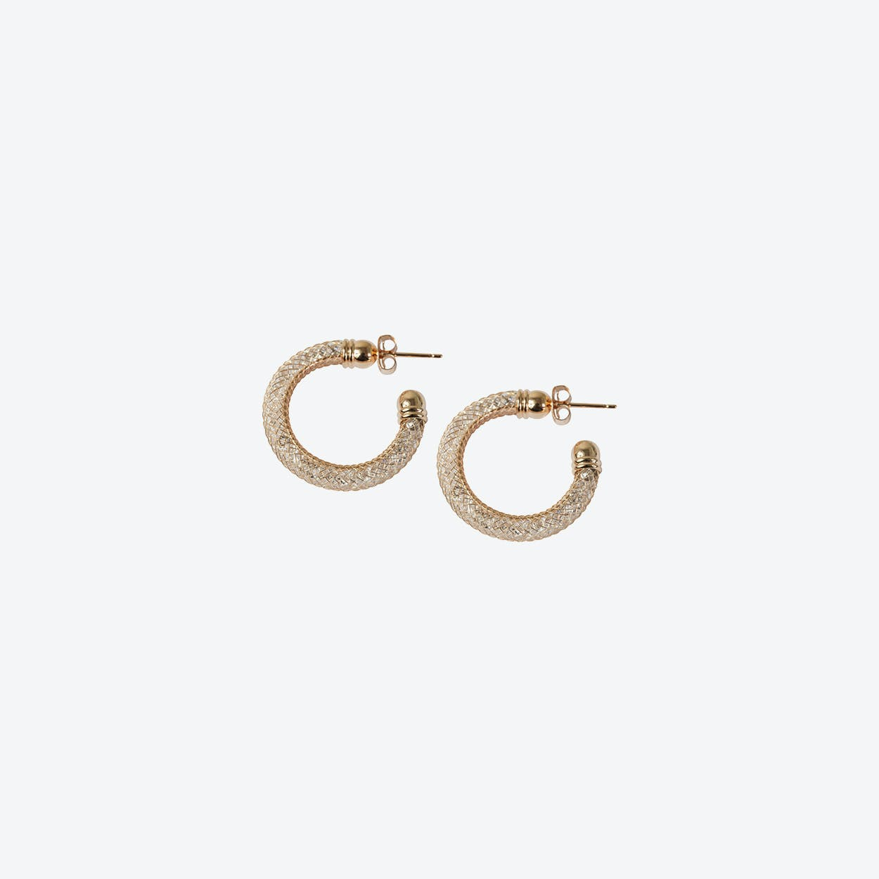Rose Gold Mesh Crystal Hoop Earring