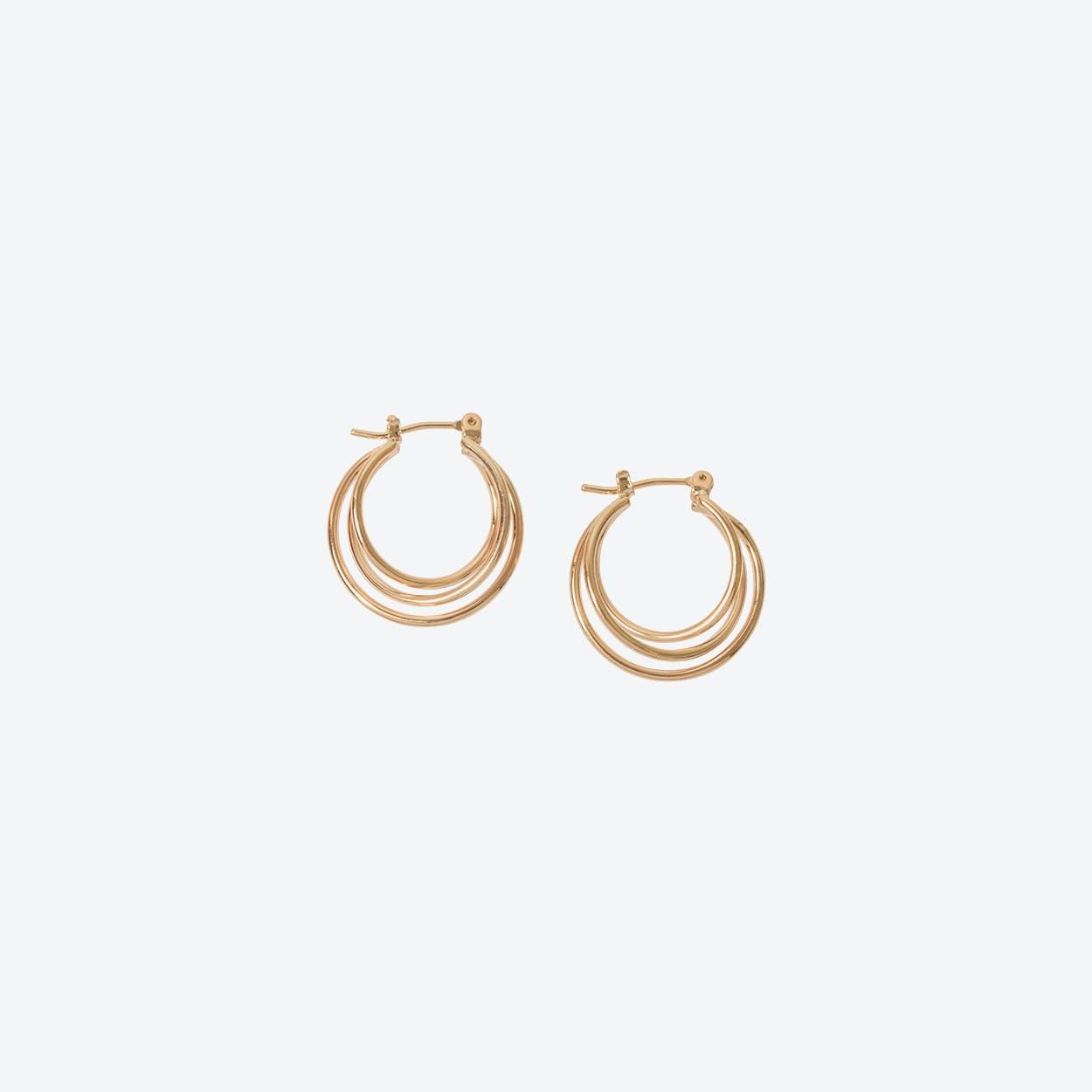 Rose Gold Triple Layer Hoop Earring