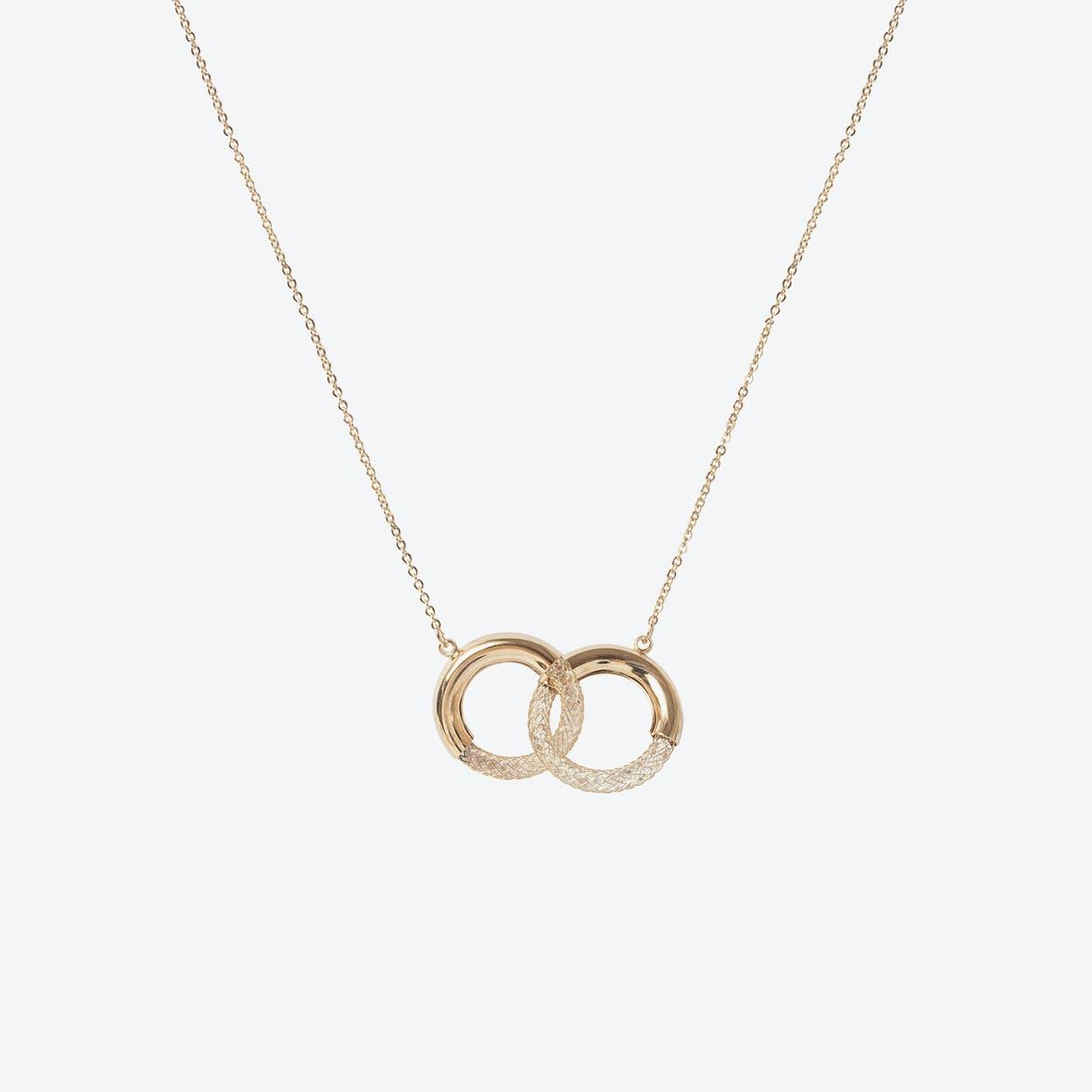 Rose Gold Mesh Hoop Short Necklace