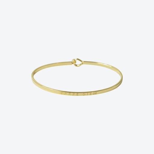 18k Gold Carpe Diem Bangle with Hook Fastening