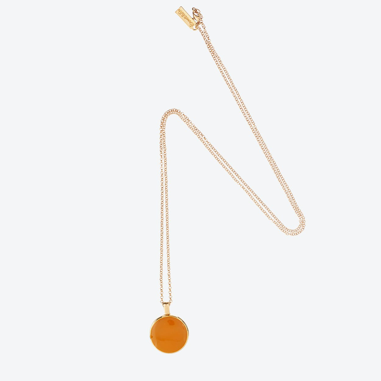 Mother of Pearl Reversible Necklace in Orange