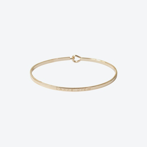 Rose Gold Carpe Diem Bangle with Hook Fastening