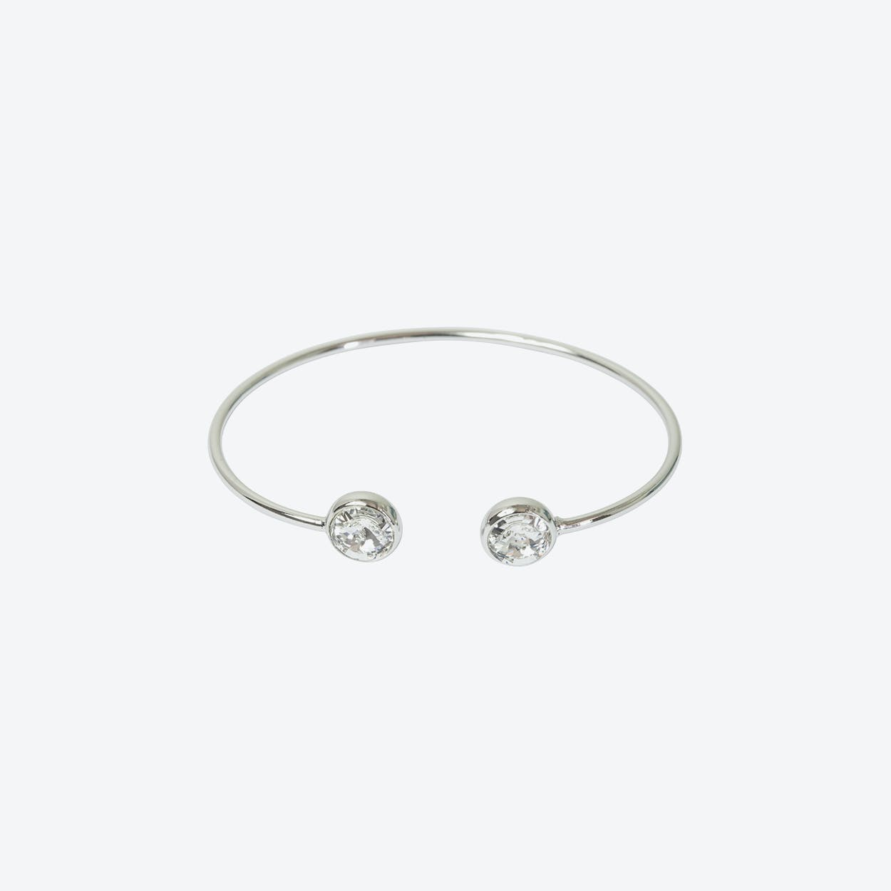 Silver Open Bangle with Crystal Stone Ends