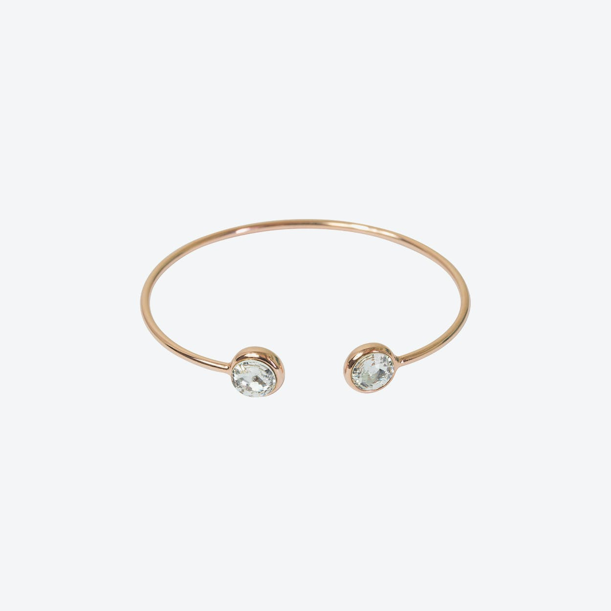 Rose Gold Open Bangle with Crystal Stone Ends