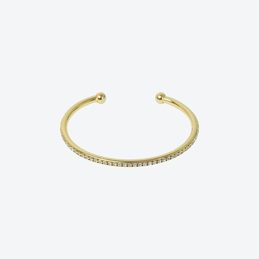 18k Gold Crystal Edged Open Bangle