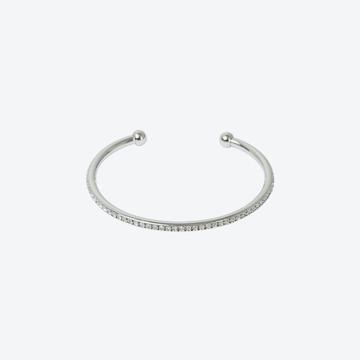 Silver Crystal Edged Open Bangle