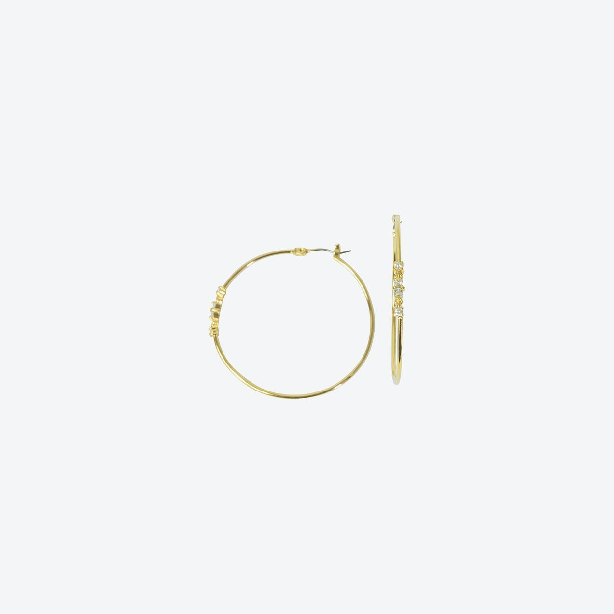18k Gold Hoop Earring with Crystal