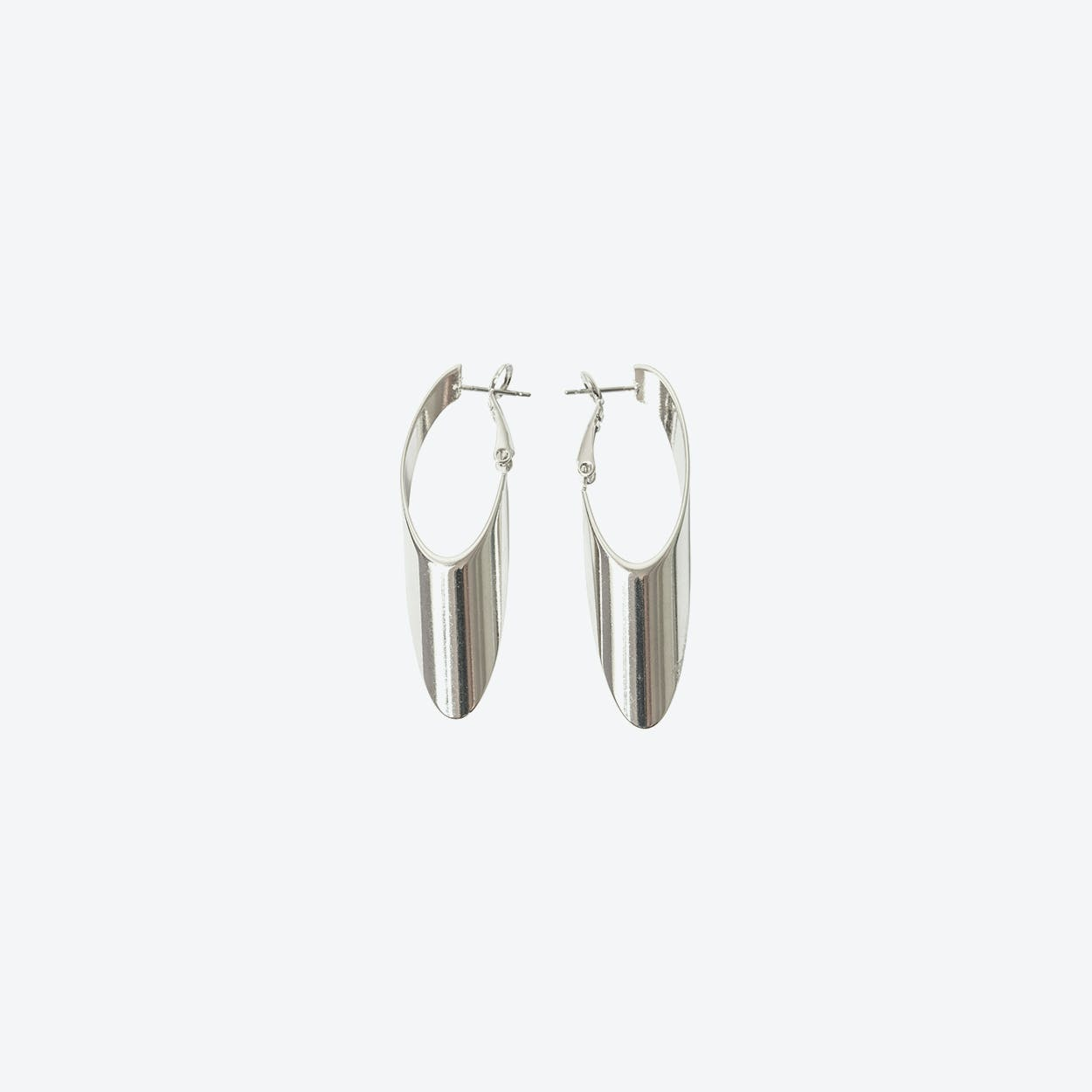 Silver Oval Twist Hoop Earring