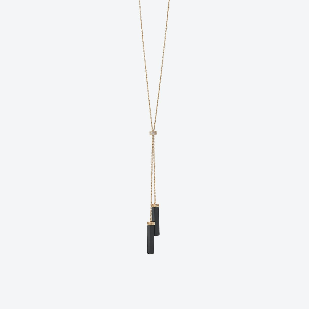 18k Gold Lariat with Black Onyx Drops