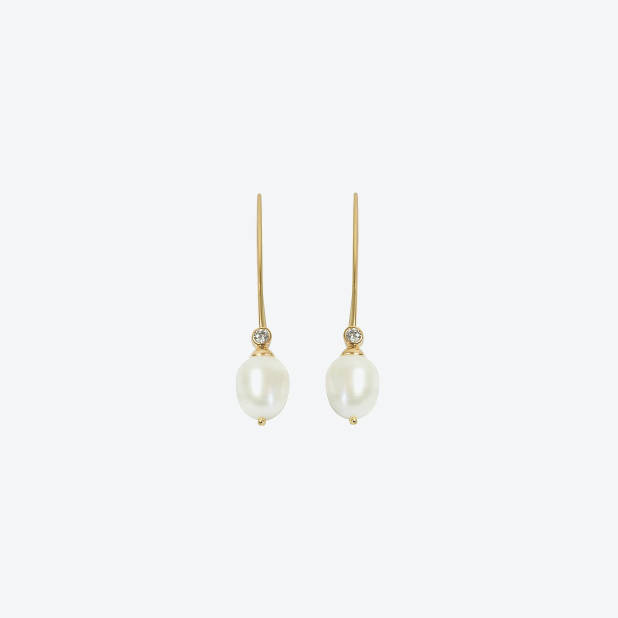 18k Gold Cultured Pearl Long Drop Earring