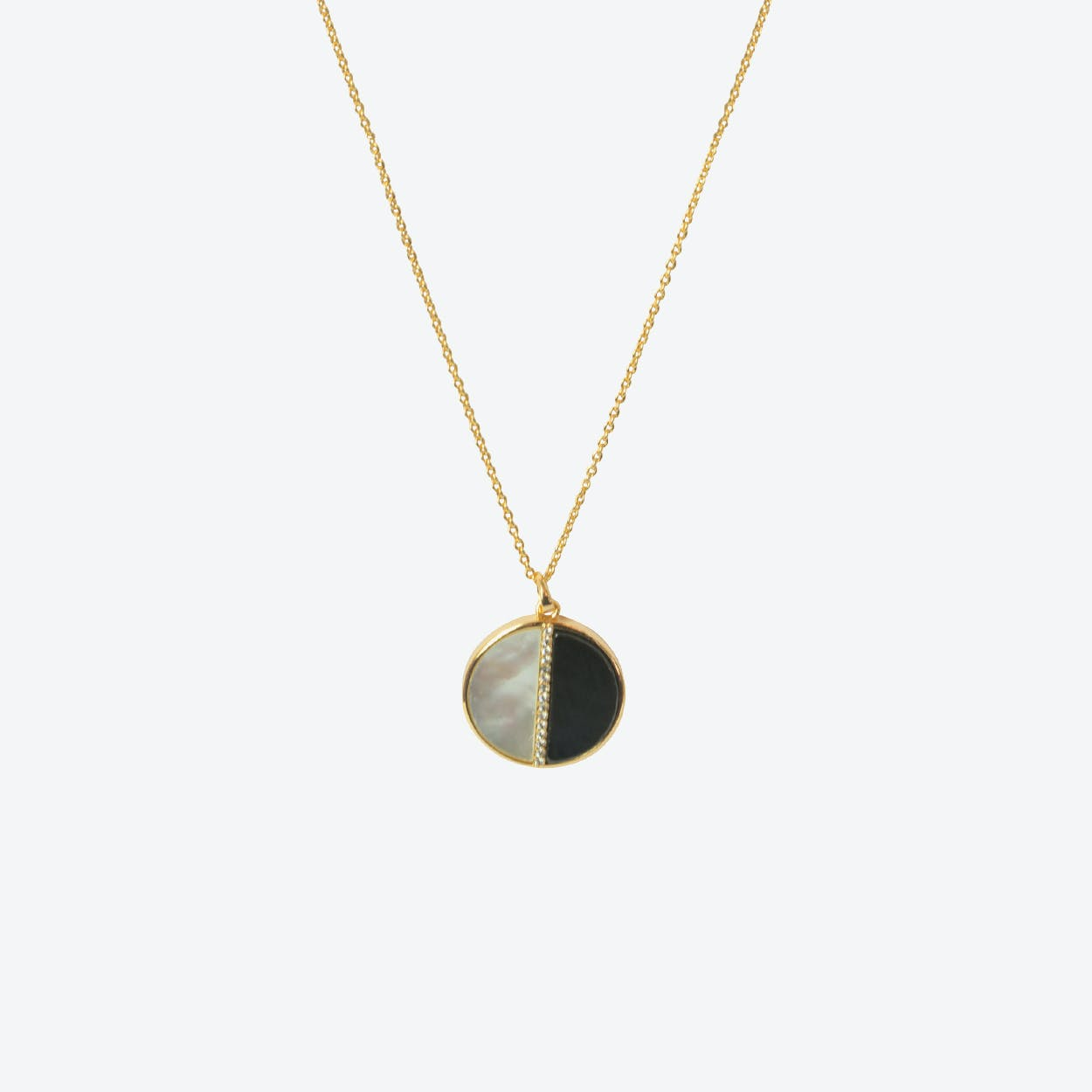 18k Gold Onyx Circle Necklace