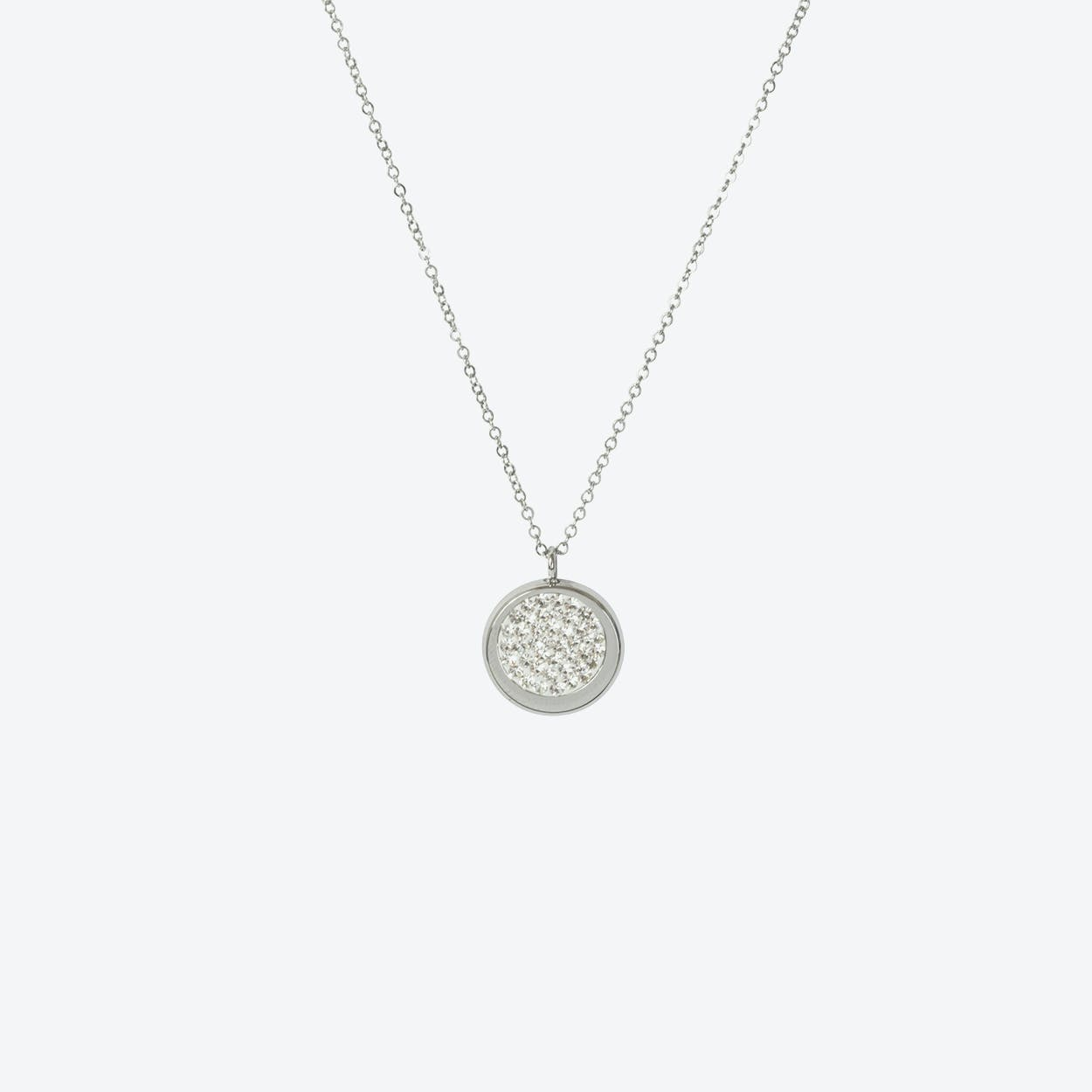 Silver Disc Pave Necklace