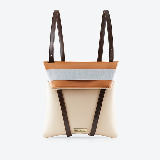 Backpack Sand in Caramel Brown and Pink Blush Leather