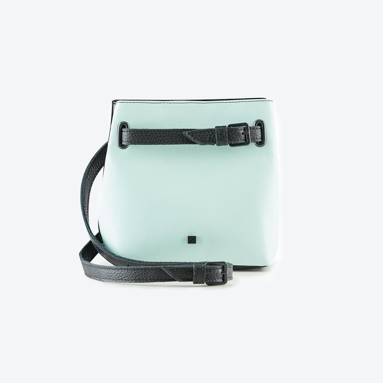 Bum Bag Teal in Black and Water Blue Leather
