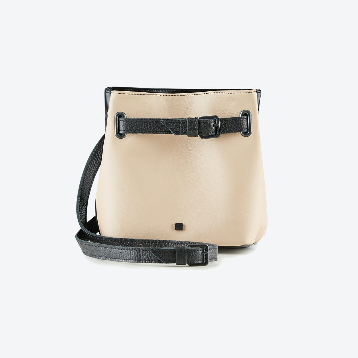 Bum Bag Robin in Black and Pink Blush Leather