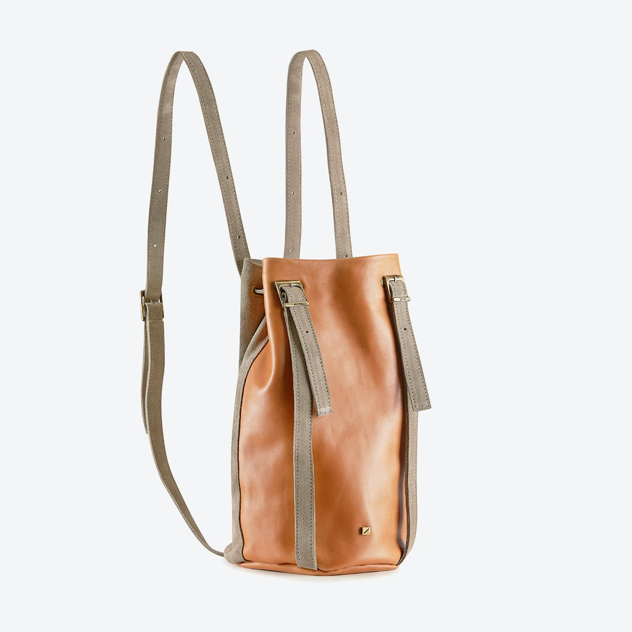 Drawstring Backpack Amber in Caramel Brown Leather and Grey Suede