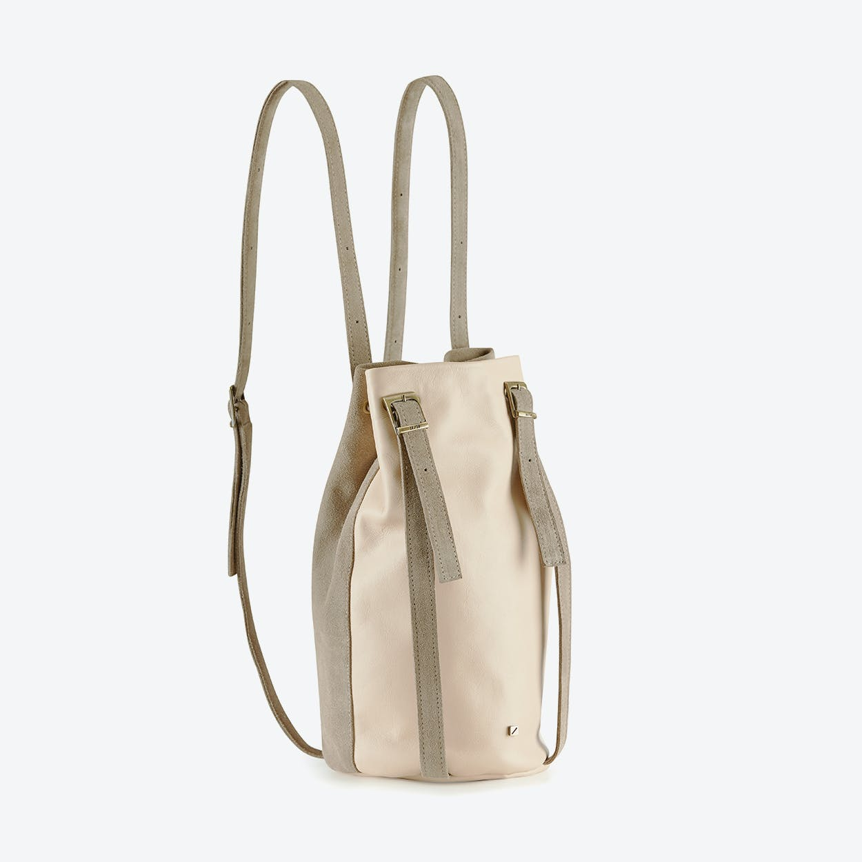 Drawstring Backpack Blush in Pink Blush Leather and Grey Suede