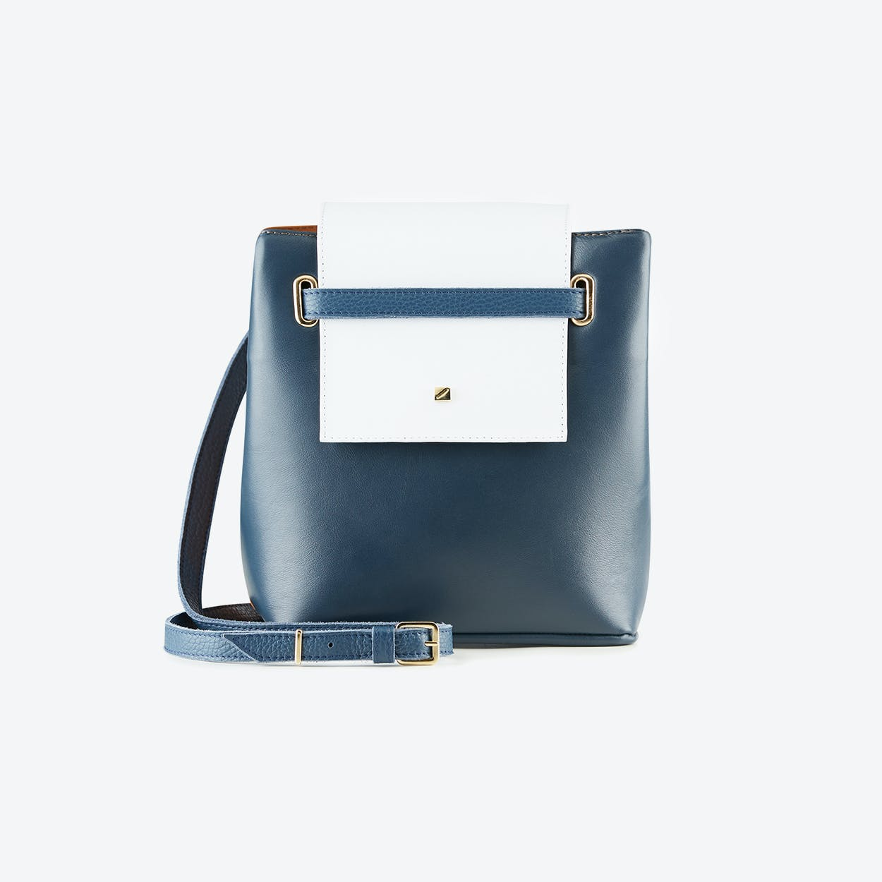 Mini Bucket Bag Indigo in Navy Blue and Brown Leather