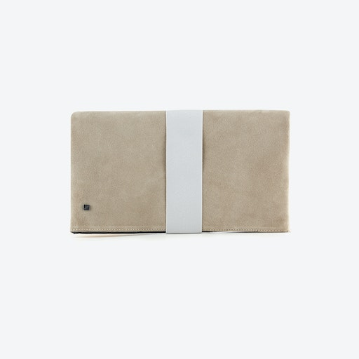 Blush Clutch Reversible Bag in Pink Blush Leather and Grey Suede