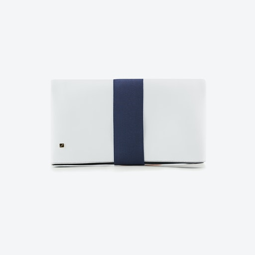 Indigo Reservible Clutch Bag  in Nacy Blue and White Leather