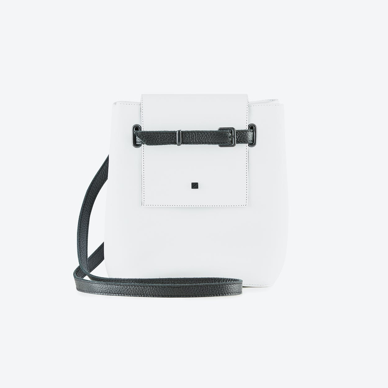 Mini Bucket Bag in White Leather