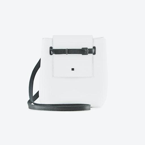 Mini Bucket Bag in White Leather